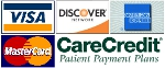 We accept Visa, AMEX, Discover, MasterCard and Care Credit